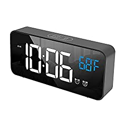 Digital Alarm Clock for Bedroom, Heavy Sleepers, LED Large Number Mirror Display with USB Charger, Loud Dual Alarm Clock with Snooze, Easy to Set, Adjustable Brightness