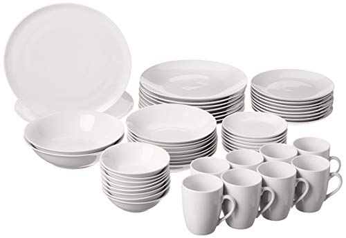 10 Strawberry Street 52 Pc Coupe Dinnerware Set, Service for 8, White,SM-5200-CP-W