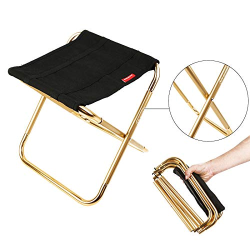 MEOLY Chaise de pêche pliante portable de 25,4 x 30,5 x 33 cm avec tabouret pliable pour le camping, la pêche, la peinture, la plage, les voyages, le barbecue