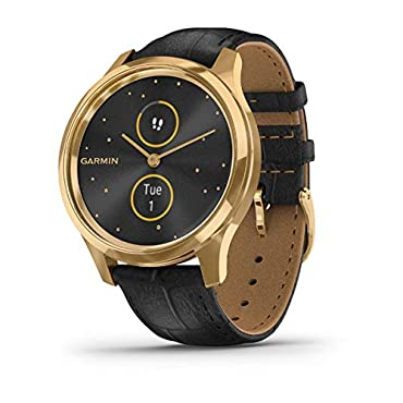 Garmin vivomove Luxe Hybrid Smartwatch (24K Gold PVD with Black Embossed Band)