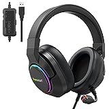 Tronsmart Sparkle Cascos Gaming Iluminación RGB, Auriculares Gaming Sonido Surround 7.1/Driver Audio de 50 mm-Profesional Headset Gaming con Micrófono para Mac/PC