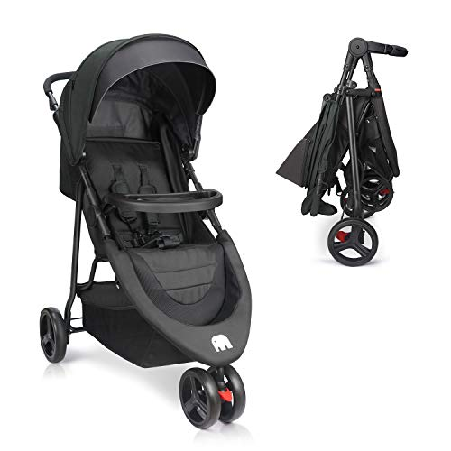 Meinkind Baby Stroller, Foldable Jogger Stroller Lightweight Baby Strollers 3-Wheels Running Stroller Travel Stroller with Canopy, Snack Tray, 5-Point Safety Belt, Storage Basket, Up to 33lbs Toddler