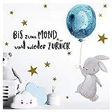 Little Deco Kinder Wandtattoo Hase & Zitat Bis zum Mond I A4-21 x 29,7 cm I Luftballon Kinderbilder Wanddeko Babyzimmer Junge Wandaufkleber Kinderzimmer Baby DL161