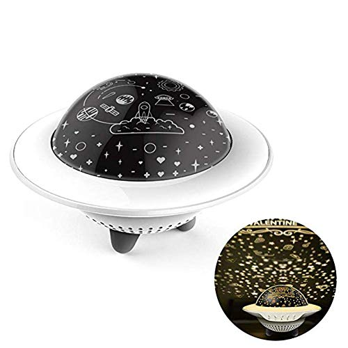 MW Dormitorio de luz Nocturna para niños proyector UFO luz de Las Estrellas Control Remoto Giratorio de proyección Dormitorio Creativo Bluetooth luz Nocturna