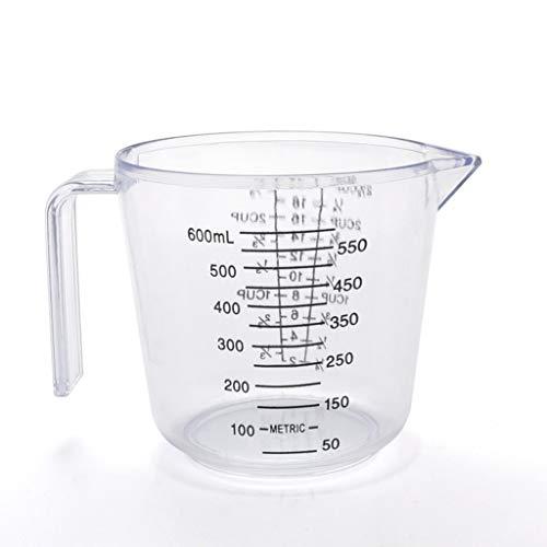 Taza medidora de plástico de 150/300/600 ml, transparente con boquilla para verter y dispositivo de medición, juego de 2 (color: blanco, tamaño: 600 ml)