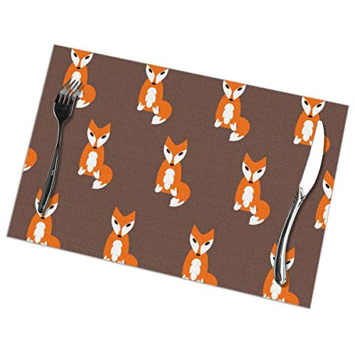 hutaz Cartoon Fox Pattern Heat Resistant Table Mats Set of 6 Non-Slip Washable Placemat for Holiday Dining Kitchen Decor Modern Art