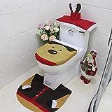 Kungfu Mall Lot de 3 articles Housse pour le couvercle du réservoir Housse pour papier toilette Housse de siège de toilette Tapis de salle de bain Noël