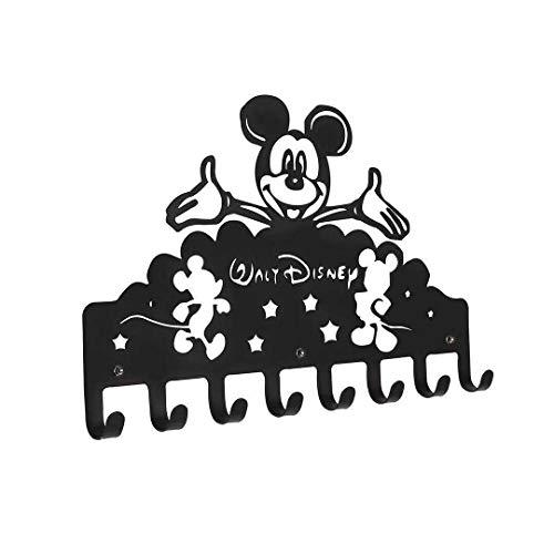 Rack de 8 ganchos | Perchero de pared de metal | Llavero para pared | colgador madera| Organizador de llaves para la zona de entrada (Cute Mickey Mouse Happy)