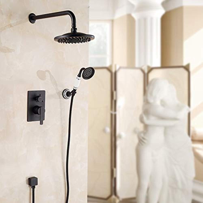 LWSFZAS European Style Einhebelmischer mit 8 Regendusche und Unterputz-Brausebatterie mit Handbrause, Antikmessing Schwarz FarbeSchwarz Farbe