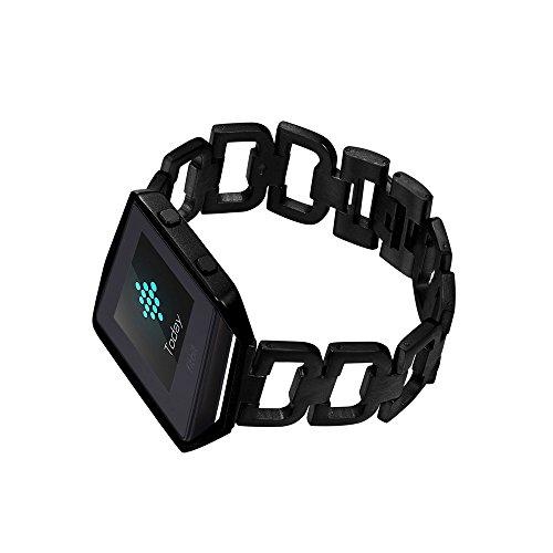 Bandmax - Cinturino in acciaio INOX compatibile con Fitbit Blazee, con telaio a maglie incrociate, con chiusura pieghevole a forma di lettera D, in metallo, compatibile con Fitbit Blaze(nero)