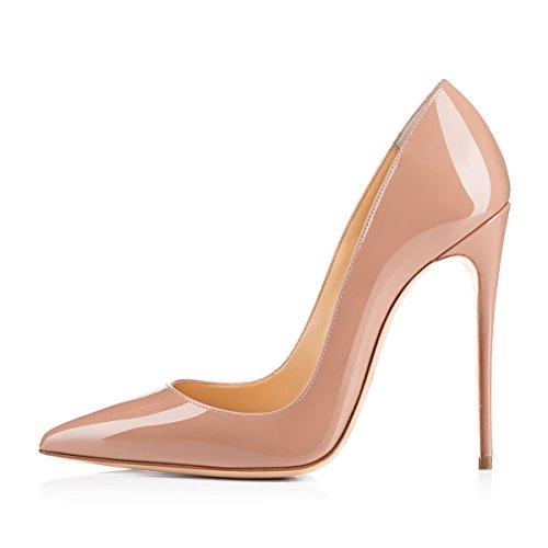 Damen Pumps Spitze Schuhe High-Heels Stiletto Mehrfarbig Hochzeit Party Ballsaal Rutsch hell Glaenzende Nackte Farbe EU37