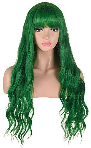 Long Wavy Green Wig with Bangs | Heat Resistant Synthetic Hair Wigs for Women Halloween Costume Cosplay Party