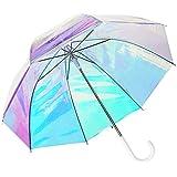 ビニール傘 オーロラ 長傘 ホログラム 雨傘 超撥水 ジャンプ おしゃれ 8本骨 アンブレラ 透明 晴雨兼用 (オーロラ)
