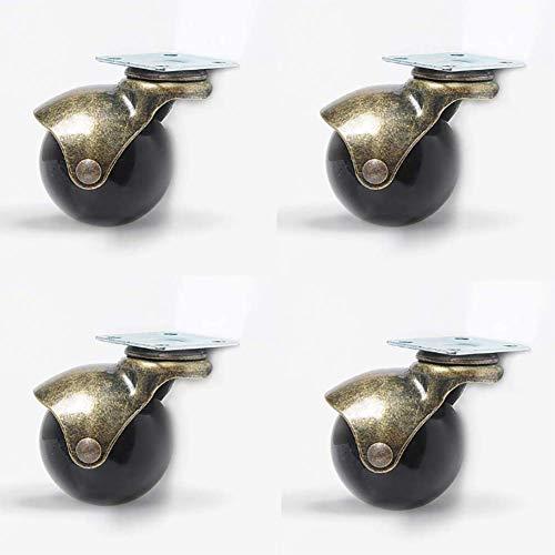 4 Ball zwenkwiel 360 ° draaibare plaat metaal ronde rem Heavy Duty met kap voor bureaustoel Salontafel speelgoed schoenen prullenbak,Metallic