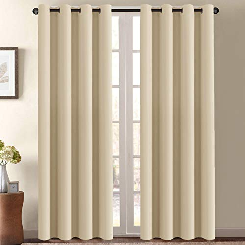 Blackout Curtain Panels for Bedroom 96 Inches Length - Window Treatment Thermal Insulated Solid Grommet Blackout Curtains for Living Room, Energy Saving Patio Door Curtain (One Panel,Beige)