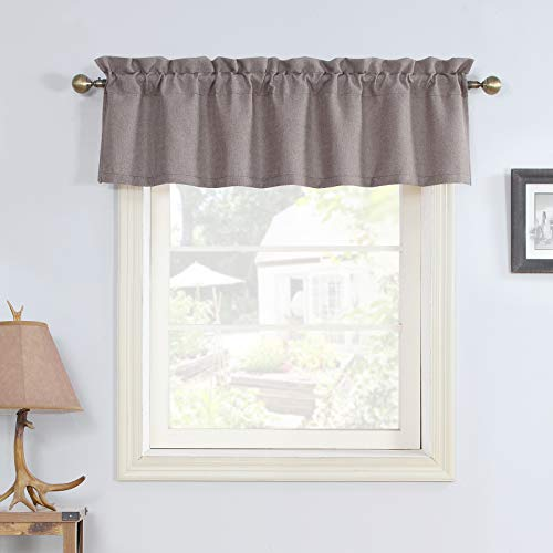 Rama Rose Taupe Valance Window Curtain 16 Inch for Kitchen Rod Pocket Energy Efficient Durability Topper Curtain for Bedroom Living Room 1 Panel 56Wx16L