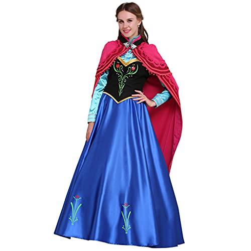 Fortunehouse Disfraz de princesa Elsa de la reina de la nieve, disfraz de fiesta de fantasía para Halloween