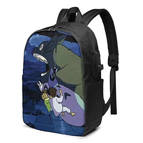 Totoro Cartoon Usb Zaino Da Viaggio Anti Furto Zaino Con Cavo Di Ricarica Auricolare Interfaccia Grande Capacità Adatto 17 Pollici Notebook Scuola Lavoro Viaggio