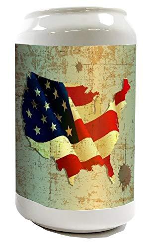 Spardose Sparbüchse Geld-Dose Wiederverschließbar Farbe Weiß Weltenbummler Flagge USA Keramik Bedruckt
