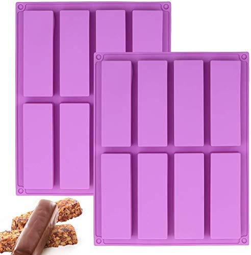 2 x große rechteckige Silikonform für Müsliriegel, 8 Mulden, Energieriegel Maker Backform für Muffin, Brownie, Cornbrot, Käsekuchen, Pudding, Kuchen und Seife, 26,7 x 21,1 cm