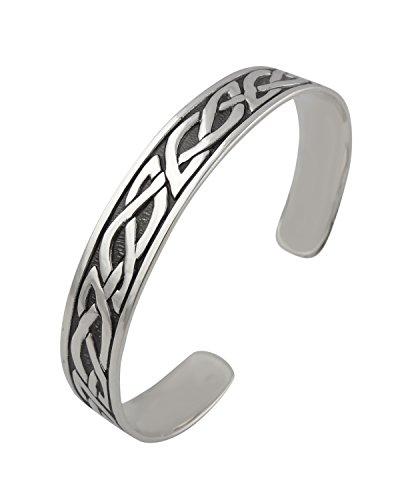 FashionJunkie4Life Sterling Silver Celtic Knot Adjustable Cuff Bracelet