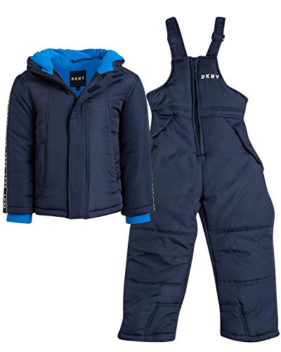 DKNY Boys 2-Piece Puffer Ski Jacket and Insulated Snowbib Snowsuit Set (Infant/Toddler) (Solid Navy, Toddler (3T))