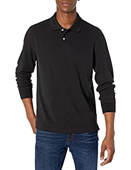 Amazon Essentials Men s Regular-fit Long-Sleeve Pique Polo Black Medium