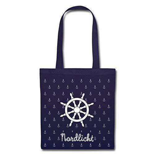 Mein Zwergenland Maritime Stofftasche mit langem Henkel, 2 L, Steuerrad, Marine