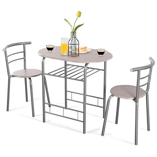 Goplus Set Tavolo con 2 Sedie da Pranzo, Set Mobili Salvaspazio Stile Moderno, in Legno e Metallo (Naturale+Grigio)