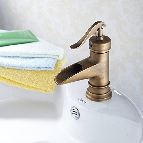 Furesnts casa moderna cucina e bagno rubinetto antiquariato Europeo in ottone solido a bocca larga vasca a cascata i rubinetti ,(Standard G 1/2 tubo flessibile universale porte)