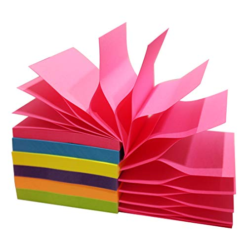 Pop up Sticky Notes Bright Rainbow Colors 3 in x 3 in Easy Post Notes Self-Stick Pads 6 Pack 100 Sheet Per Pad 600 Sheet Total Individual Package by MQLH-TECH