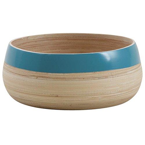 Saladiers rond en bambou laqué bleu