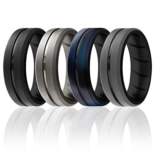 ROQ Silicone Rings, Breathable Silicone Rubber Wedding Ring Band for Men with Comfort-Fit Design, 8mm Engraved Duo, 4 Pack, Silicone Wedding Ring - Silver, Black-Blue Camo Colors - Size 9