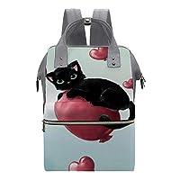 マザーズバッグ リュック ママバッグ オムツバッグ リュックサック バックパック 出産バッグ 動物柄 猫 かわいい 子猫 掛けるベルト付き ベビー用品収納 防水 大容量 多機能 通勤 旅行