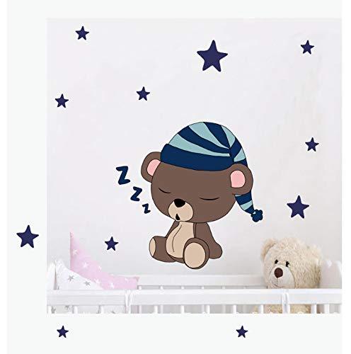 Nette Bären Mit Kappe Sterne Farbe Wandaufkleber Für Kinderzimmer Kinderzimmer Wandtattoo Kunst Dekor Baby Shower Wanddekoration