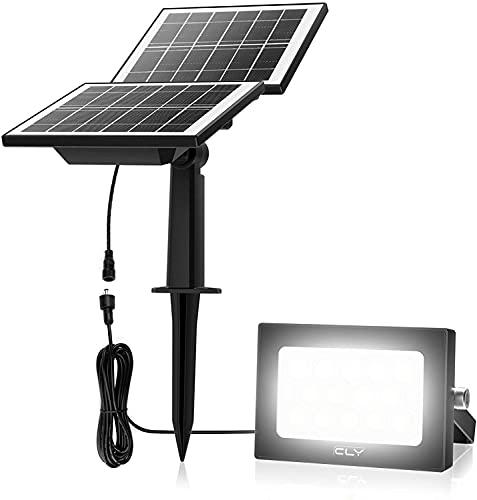 Projecteur LED Exterieur Solaire 14LED CLY Lampe Solaire Exterieur 1000LM lumiere solaire exterieur 6000K Lampe Solaire Jardin avec deux Panneau Solaire Spot Solaire Extérieur IP66
