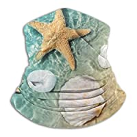 メンズネックウォーマー サマービーチの海水の中のヒトデと貝殻 春 秋 冬 防寒対策 保温 防風 裏ボア ふわふわ 暖かい 首巻き 無地 男女兼用 小顔効果抜群 26X30CM
