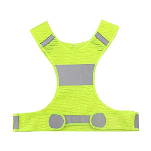 Resaltar reflectante correas funcionamiento de la noche a caballo ropa chaleco de seguridad ajustable chaleco elástico banda for adultos y niños (Color : Green, Size : M)