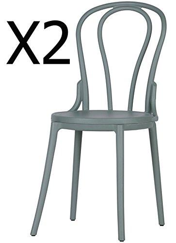 PEGANE Lot de 2 chaises en polypropylène Coloris Vert Jade - Dim : H88 x L50 x P44.5 cm
