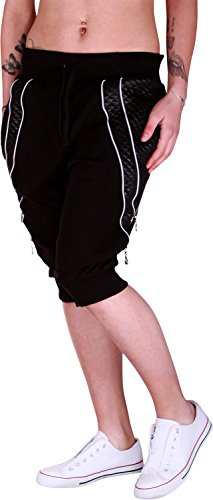 Dames jogging bermuda shorts | korte joggingbroek voor vrouwen | lichte katoenen broek met zakken | korte trainingsbroek met manchetten | vrijetijdsbroek rits 585