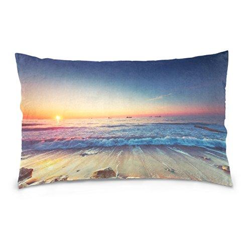 Alaza Kissenbezug mit Meeresmotiv, Baumwolle, 40,6 x 40,6 cm, doppelseitig, Wellen, Sonnenuntergang, dekorativ für Zuhause, Hotel, Couch 20