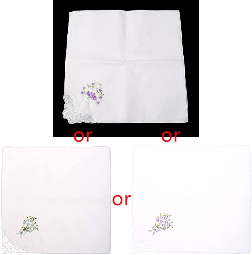 KAIDU 6 Pcs Vintage Cotton Ladies Embroidered Lace Handkerchief Women Floral Hanky