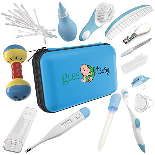 Baby Grooming Kit | Baby Care New Born Healthcare Kits | Nursery Essentials Set for Babies Best Baby Shower and Registry Gifts | Includes Nail Clipper Infant Hair Brush Comb Thermometer| Boys (Blue)