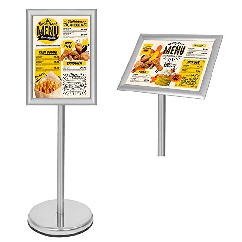 Belle Vous Expositores de Pie A4 Plateado – Soporte para Poster de Aluminio de Pedestal – Marco para Vista en Vertical y Horizontal - Atril Ajustable para Bodas, Exhibiciones, Tiendas y Restaurantes