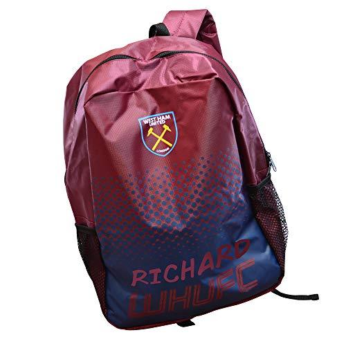 Personalised Westham Backpack Football Boys School Bag Soccer Gym/Men/United/Printed/Zip/Rucksack Stadium/Large/30 x 15.5 x 40 Centimetre
