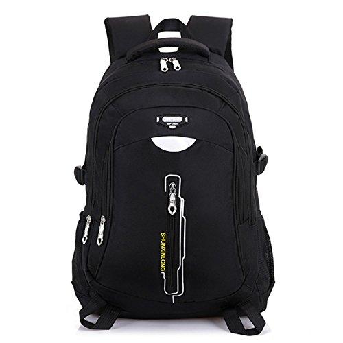Multifonctions randonnée sac à dos récréation portable imperméable à l'eau durable sac à dos escalade voyage équitation alpinisme Bag pour hommes femmes étudiant violet noir 52 x 36 x 18 cm , black