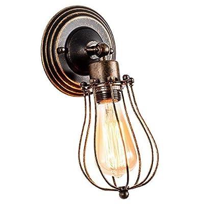 GLADFRESIT Industrial Wall Sconce Rustic Lighting, Retro Metal Barn Wall lamp, Indoor Farmhouse Lights Fixture Adjustable (Bulb Not Included) (Bronze)