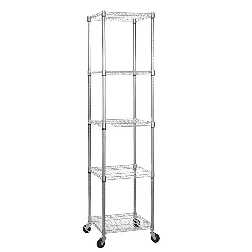 Shopfitting Warehouse Chrome Wire Shelving Unit with Wheels - 5 Shelves, H1875 x W450 x D450 mm