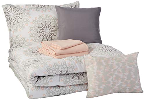 AmazonBasics 8-Piece Comforter Bedding Set, Twin / Twin XL, Grey Boho Medallion, Microfiber, Ultra-Soft