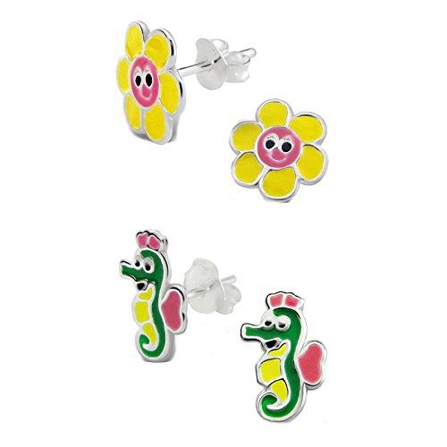 SL-Silver Set Bambini Orecchini girasole e Lago cavallo 925Argento in confezione regalo